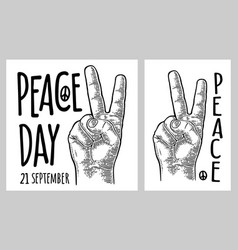 male hand sign victory sign or peace sign or vector image