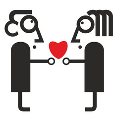 man and woman hold a heart symbol vector image