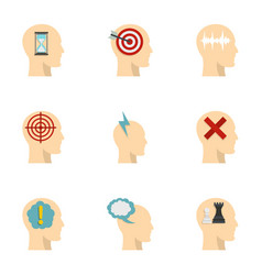 Man head with thoughts icons set flat style vector