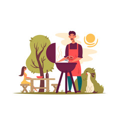 man preparing barbecue on grill vector image