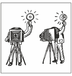 Man with old camera vector