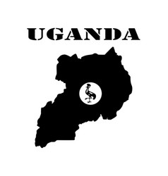 Map of uganda in black colors vector
