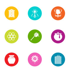 meadow icons set flat style vector image