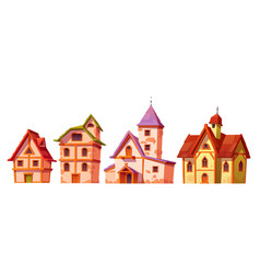 medieval buildings house town architecture set vector image