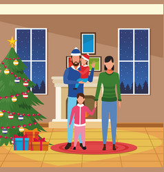 merry christmas in family vector image