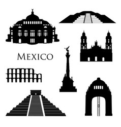 Mexico city landmarks icon set famous buildings vector