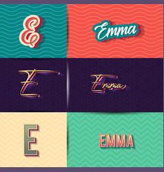 Name emma in various retro graphic design vector