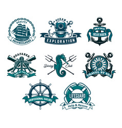 Nautical and marine heraldic icons vector