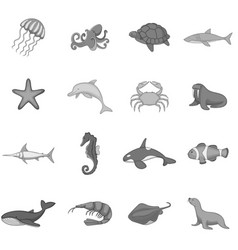 ocean inhabitants icons set monochrome vector image