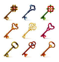 Old keys icons set vector