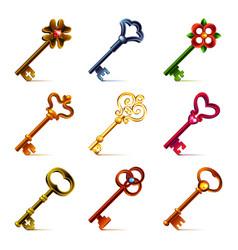 Old keys icons set vector image