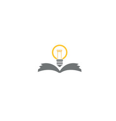 open book with lamp for logo design vector image