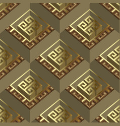 Ornate gold 3d geometric greek seamless pattern vector