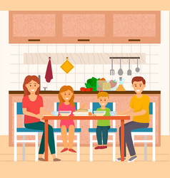 People eating at home family in kitchen house vector