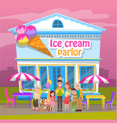 People eating ice-cream sweet shop in city vector