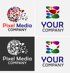 pixel media logo template vector image
