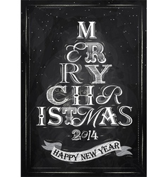 Poster tree christmas happy chalk vector