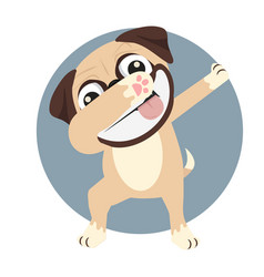 pug doing dabbing smile face vector image