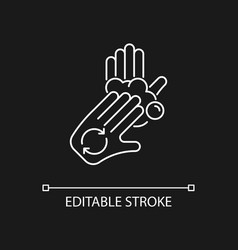 Rub palms with fingers white linear icon for dark vector