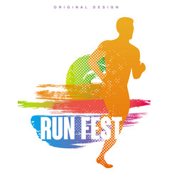 Run fest original gesign colorful poster template vector