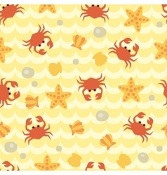 Seamless pattern with cute cartoon crabs vector