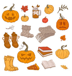 set autumn objects in sketch style vector image