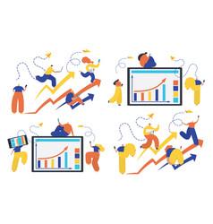 set business people concept success vector image