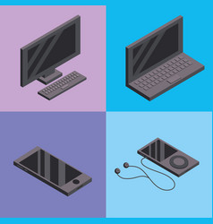 Set computers and smarphones technology services vector