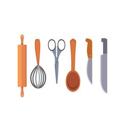 set kitchen utensils cooking tools flat vector image