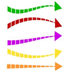 set of 5 colorful arrow shapes long horizontal vector image