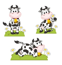 set of isolated cow in meadow vector image
