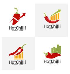 Set stats chili logo design template red chili vector