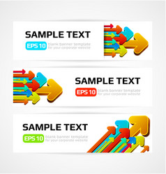 Set three banners with 3d arrows vector