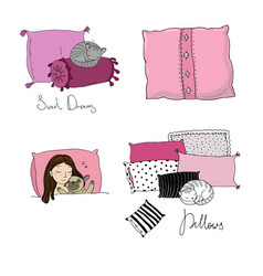 set with pillows bed linen time to sleep good vector image