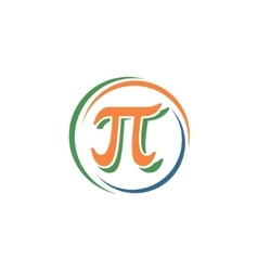 Sign pi in a circle vector