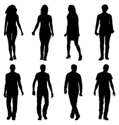 Silhouette group of people standing on white vector