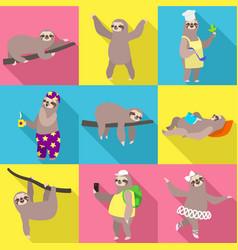 Sloth icon set flat style vector