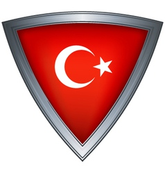 steel shield with flag republic of turkey vector image