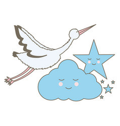 stork bird flying with cloud and star kawaii vector image