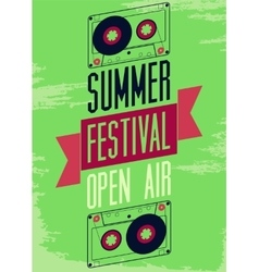 Summer festival open air typographic poster vector image