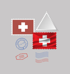 Switzerland flag postage stamp set isolated on vector