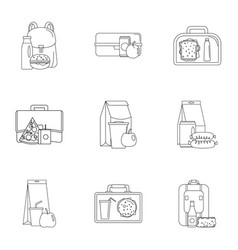 takeout food icons set outline style vector image