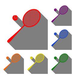 tennis racquet sign set of red orange yellow vector image