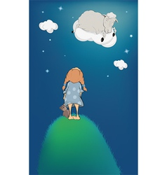 The girl lamb on a cloud vector image