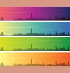 Toulouse multiple color gradient skyline banner vector
