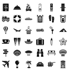 Travel in summer icons set simple style vector
