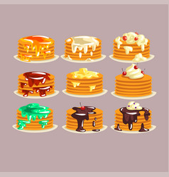 various kinds of pancakes with different vector image