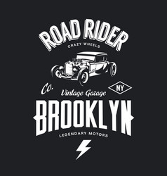 Vintage hot rod tee-shirt logo vector