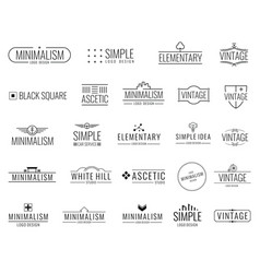 Vintage minimal logos with simple shapes vector