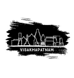 Visakhapatnam india city skyline silhouette hand vector
